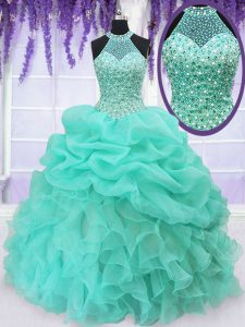 Superior Pick Ups Ball Gowns Quinceanera Gown Aqua Blue Halter Top Organza Sleeveless Floor Length Lace Up