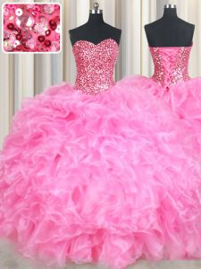 New Arrival Sequins Ball Gowns Quinceanera Gown Rose Pink Sweetheart Organza Sleeveless Floor Length Lace Up