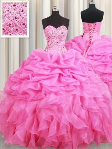 Sleeveless Floor Length Beading and Ruffles and Pick Ups Lace Up Quinceanera Dresses with Rose Pink
