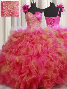 Multi-color Organza and Tulle Lace Up One Shoulder Sleeveless Floor Length Quinceanera Gowns Beading and Ruffles and Hand Made Flower