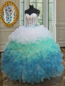 Glorious Sleeveless Lace Up Floor Length Beading and Ruffles Quinceanera Dress