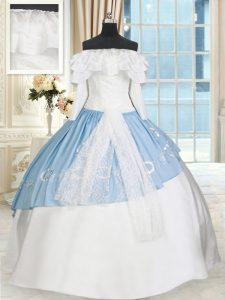 Dazzling Blue And White Taffeta Lace Up Off The Shoulder Long Sleeves Floor Length Quinceanera Dress Lace and Bowknot