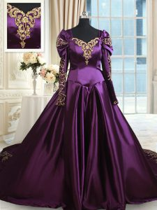 Off the Shoulder With Train A-line Long Sleeves Dark Purple Sweet 16 Dress Chapel Train Zipper