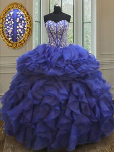Royal Blue Lace Up Sweetheart Beading and Ruffles Sweet 16 Dresses Organza Sleeveless