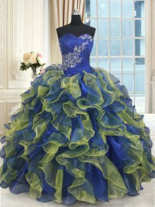Luxury Floor Length Multi-color Sweet 16 Dresses Organza Sleeveless Beading and Ruffles