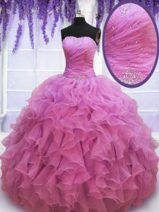 Dramatic Lilac Sleeveless Floor Length Beading and Ruffles Lace Up Quinceanera Dress