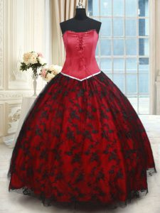 Modern Black and Red Lace Up Strapless Lace Quinceanera Gown Lace Sleeveless