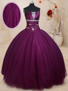 Floor Length Lace Up Sweet 16 Quinceanera Dress Dark Purple for Military Ball and Sweet 16 and Quinceanera with Beading