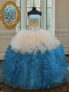Strapless Sleeveless Vestidos de Quinceanera Floor Length Beading and Ruffles Multi-color Organza