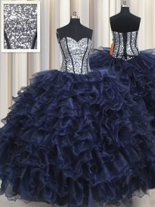 Dynamic Sequins Ruffled Floor Length Ball Gowns Sleeveless Navy Blue Sweet 16 Quinceanera Dress Lace Up