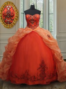 Fashion Orange Red Sleeveless Brush Train Beading and Embroidery and Pick Ups With Train Quince Ball Gowns
