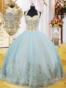 Trendy Halter Top Light Blue Sleeveless Floor Length Appliques Lace Up Quinceanera Gown