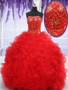 Eye-catching Floor Length Ball Gowns Sleeveless Red Vestidos de Quinceanera Lace Up