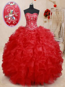 Inexpensive Sweetheart Sleeveless Lace Up 15th Birthday Dress Red Organza