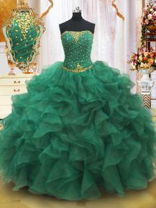 Fine Dark Green Lace Up 15th Birthday Dress Beading and Ruffles Sleeveless Floor Length