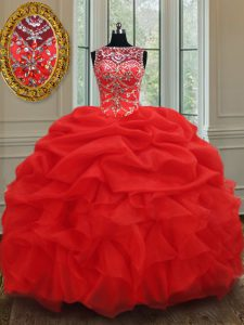 Sweet See Through Red Bateau Lace Up Beading and Ruffles Ball Gown Prom Dress Sleeveless