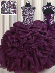 Trendy Dark Purple Scoop Lace Up Beading and Ruffles and Pick Ups Quince Ball Gowns Sleeveless