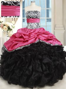 Pink And Black Lace Up Strapless Beading and Ruffles Sweet 16 Dresses Organza and Taffeta Sleeveless