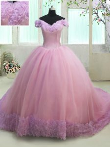 Off the Shoulder Court Train Lilac Ball Gowns Ruching Vestidos de Quinceanera Lace Up Tulle Cap Sleeves With Train