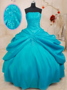 Teal Strapless Lace Up Appliques Quinceanera Dresses Sleeveless