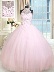 Halter Top Sleeveless Floor Length Beading Lace Up Quinceanera Dress with Baby Pink