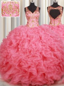 Eye-catching Floor Length Pink 15 Quinceanera Dress V-neck Sleeveless Backless