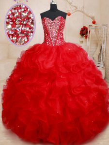 Beading and Ruffles 15th Birthday Dress Red Lace Up Sleeveless Floor Length