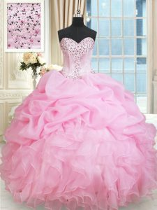 Eye-catching Organza Sweetheart Sleeveless Lace Up Beading and Ruffles and Pick Ups Vestidos de Quinceanera in Rose Pink