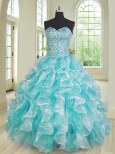 Blue And White Ball Gowns Organza Sweetheart Sleeveless Beading and Ruffles Floor Length Lace Up 15th Birthday Dress
