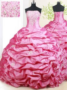 Sexy Pick Ups With Train Hot Pink Vestidos de Quinceanera Strapless Sleeveless Brush Train Lace Up