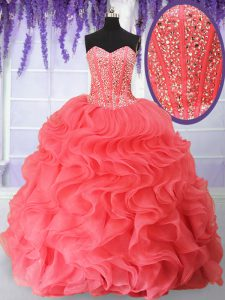 Fantastic Watermelon Red Organza Lace Up Sweetheart Sleeveless Floor Length Quinceanera Dresses Beading and Ruffles