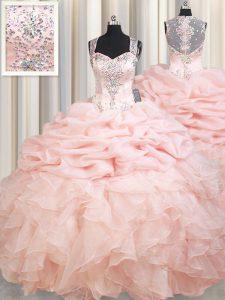 Chic Pick Ups Brush Train Ball Gowns Sweet 16 Quinceanera Dress Pink Straps Organza Sleeveless Zipper