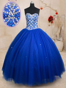 Discount Ball Gowns Quinceanera Dress Royal Blue Sweetheart Tulle Sleeveless Floor Length Lace Up