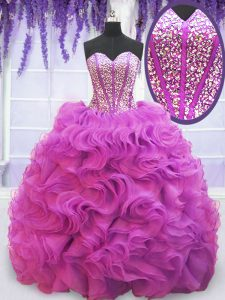 Sleeveless Organza Brush Train Lace Up 15th Birthday Dress in Purple with Beading and Ruffles