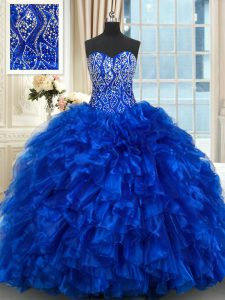 Colorful Organza Sleeveless With Train Quinceanera Gowns Brush Train and Beading and Ruffles