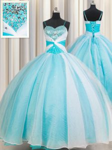 Fitting Spaghetti Straps Sleeveless Organza 15 Quinceanera Dress Beading Lace Up