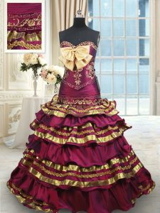 Ruffled Layers With Train Burgundy Quinceanera Dress Sweetheart Sleeveless Brush Train Lace Up