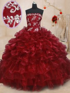 Burgundy Lace Up Strapless Beading and Ruffles and Ruffled Layers Quinceanera Dresses Organza Sleeveless