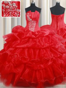 Stunning Strapless Sleeveless Sweet 16 Quinceanera Dress Floor Length Beading and Pick Ups Red Organza