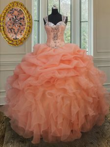 Captivating Organza Straps Sleeveless Zipper Beading and Ruffles and Pick Ups 15th Birthday Dress in Orange