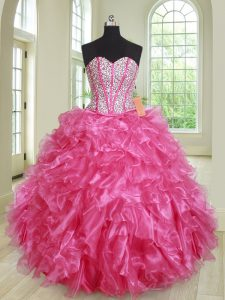 Enchanting Hot Pink Sleeveless Organza Lace Up Vestidos de Quinceanera for Military Ball and Sweet 16 and Quinceanera
