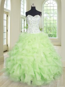 Floor Length Lace Up Quinceanera Dresses Yellow Green for Military Ball and Sweet 16 and Quinceanera with Beading and Ruffles
