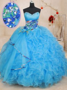 Ball Gowns Quinceanera Gowns Baby Blue Sweetheart Organza Sleeveless Floor Length Lace Up