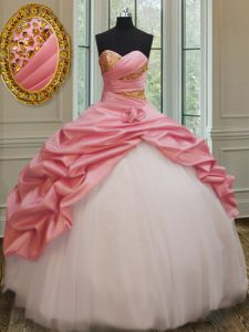 Super Sleeveless Lace Up Floor Length Beading and Pick Ups and Hand Made Flower Quinceanera Dresses