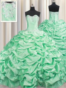 Artistic Apple Green Sweetheart Neckline Beading and Pick Ups Sweet 16 Dress Sleeveless Lace Up