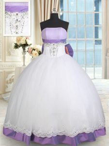 Artistic White And Purple Lace Up Strapless Beading and Lace and Bowknot Sweet 16 Quinceanera Dress Taffeta and Tulle Sleeveless