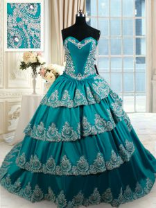 Teal Taffeta Lace Up Quinceanera Gowns Sleeveless Floor Length Beading and Embroidery and Ruffled Layers