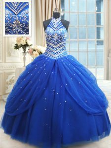 Pick Ups Floor Length Royal Blue Quinceanera Dress Halter Top Sleeveless Lace Up