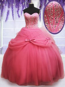 Watermelon Red Lace Up Sweetheart Beading and Bowknot Quinceanera Dresses Tulle Sleeveless