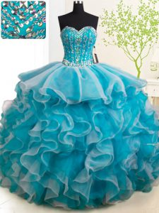 Suitable Teal Sleeveless With Train Beading and Ruffles Lace Up Quinceanera Dresses